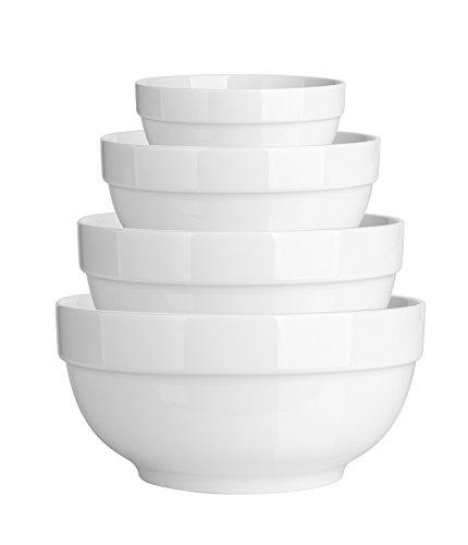 DOWAN 4-Piece Porcelain MixingServing Bowl Set- 12- 22 - 42 - 64 OZ White Anti-slipping Nesting Bowls