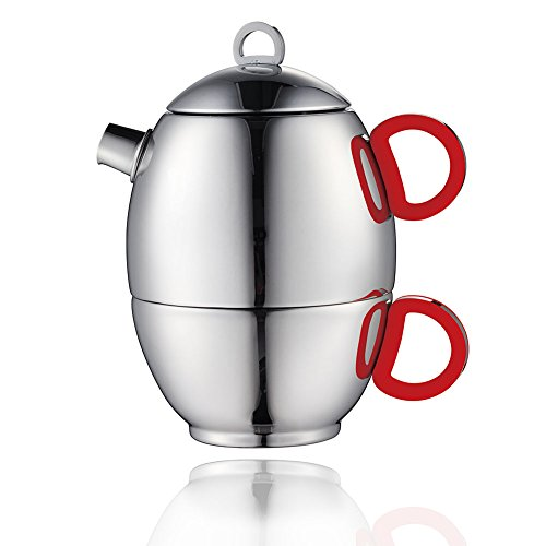 Minos Stunning Polished Teapot And Cup For One Set - 85 OZ - Stainless Steel And Silicon Handle