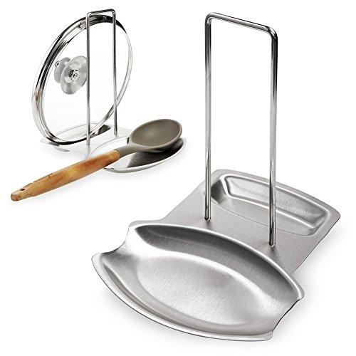 Lid Spoon Rest Rack IdealHouse Kitchen Stainless Steel Metal Utensils Pan Pot Rack Cover Holder Shelf