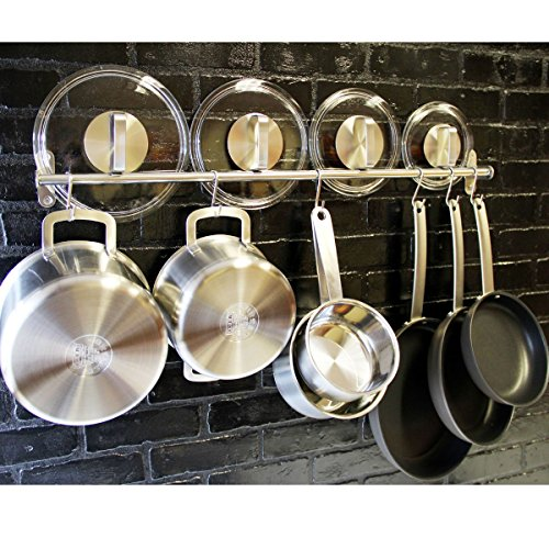 Lyon Stainless Steel Gourmet Kitchen 315 Inch Wall Mount Rail and 10 S Hooks Set Utensil Pot Pan Lid Rack Storage Organizer  Silver