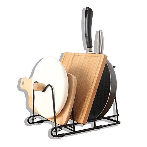 Pekky Kitchen Pot Lid Organizer Rack Pan Rack Black