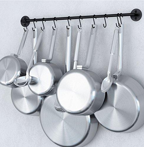 Steel Gourmet Kitchen 24 Inch Wall Rail and 10 S Hooks Set Utensil Pot Pan Lid Rack Storage Organizer Black Color