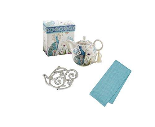 Peacock Tea For One Gift Set With Teapot Teacup Coordinating Tea Towel and Tea Pot Trivet