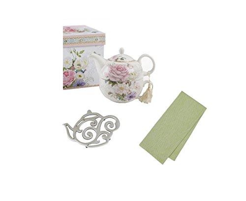 Pink Rose Tea For One Gift Set With Teapot Teacup Coordinating Tea Towel and Tea Pot Trivet