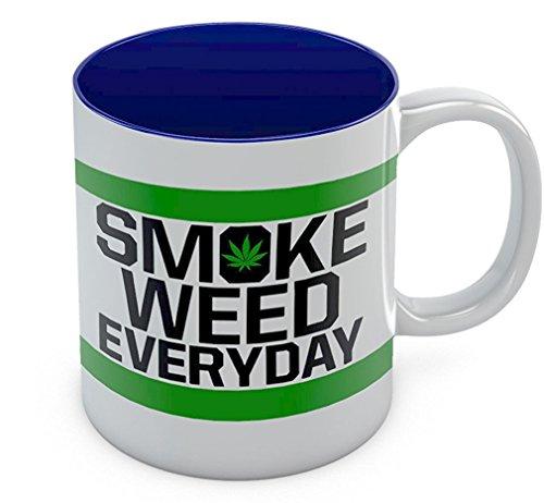 Smoke Weed Every Day Coffee Mug - Marijuana Cannabis Smoking - Weed Day Gift For Coffee Tea Lovers - Funny Birthday Gift for Your Stoner Freinds - Great Tea Cup Pot Smoking Ceramic Mug 11 Oz Blue