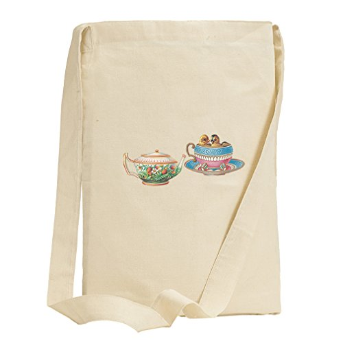 Tea Cup And Pot Vintage Look Canvas Sling Tote Bag