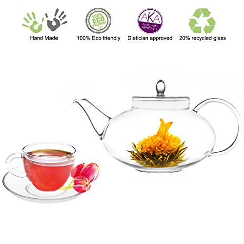 Teapot Set Glass Teapot Harmony with Infuser 42oz1242 Ml and Set of 2 Cups and Saucers 5oz150ml