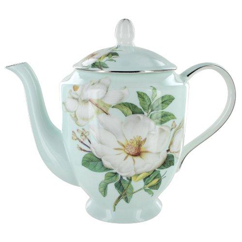 Coastline Imports Blue Magnolia Bone China 4 Cup Teapot