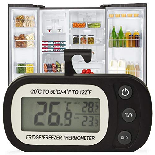 Digital Refrigerator Thermometer - Waterproof Freezer Fridge Room Thermometer Temperature Monitor MaxMin Record Function Large LCD Screen and Magnetic back for Home Kitchen Black Battery Included