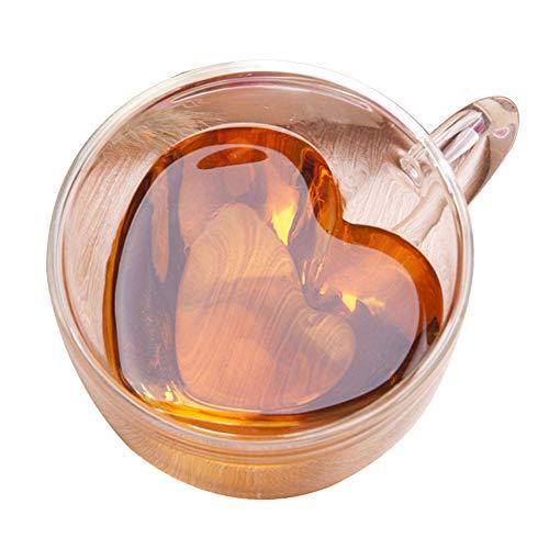 Kekailu Cups Bottle180240ml Heart Shape Clear Glass Coffee Cup Whiskey Double Layer Mug Drinkware240ml