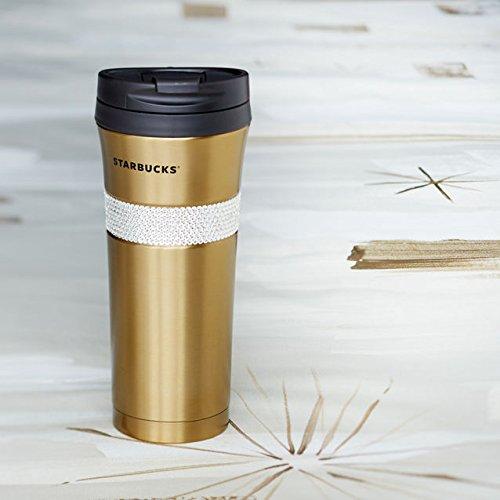 STARBUCKS ~ Swarovski  Starbucks ~ Swarovski  Holiday Christmas Limited stainless gold tumbler  gift box with  Grande size 16 oz  parallel import goods