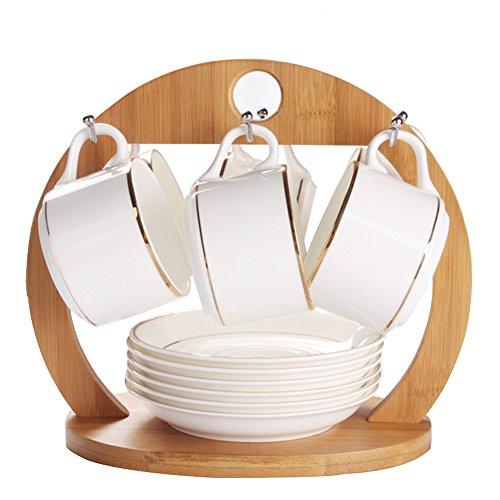 AB Crew Bamboo Coffee Cup Holder Storage Creative Tea Mug and Saucer Display Rack Holds 6 Cups
