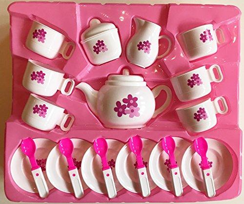 Toy Tea Set 23 piece plastic tea set including cups saucers spoons teapot sugar and cream dispensers