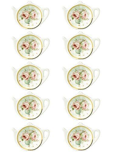 White Porcelain Ceramic with Flower Trim Gold Rim Teapot-Shaped Tea Bag Holder Tea Bag Coasters Spoon Rests Classic Tea Saucer Seasoning Dish Set …