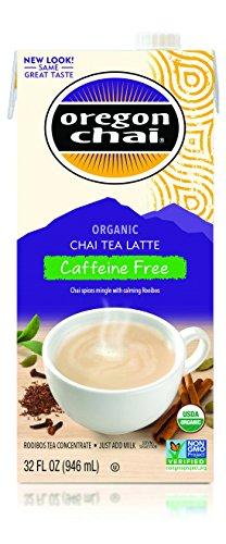Oregon Chai Caffeine Free Chai Tea Latte Concentrate 32-Ounce Boxes Pack of 6