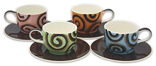 Hues Brews 8 Piece Chocolate Ribbon Latte Cup and Saucer Set 14 oz