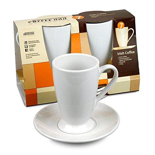 Konitz Coffee Bar Irish Coffee Cups and Saucers 10-Ounce White Set of 2