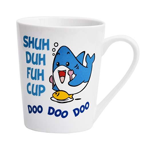 Coffee Mug Cute Shark Fish SHUH DUH FUH CUP DOO DOO DOO Coffee Tea Cup Funny Words Ceramic Cup for Christmas Festival Birthday Children Kids