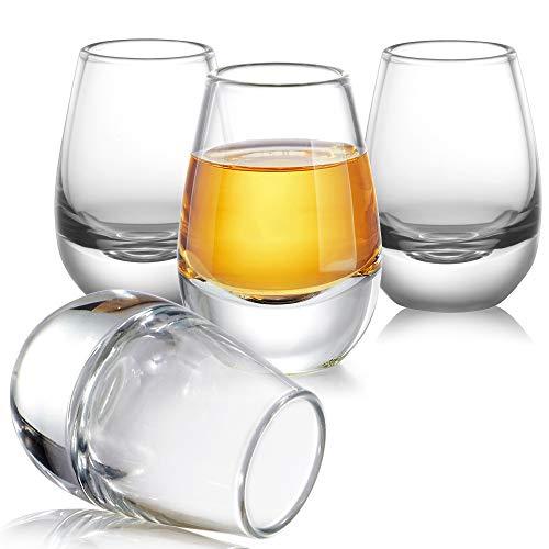 ZENS Sake Cups GlassesClear Cute Sake Shot Cups 135 Once Set of 4 for Japanese Sake Bottle Cold Liquor with Heavy Base Design
