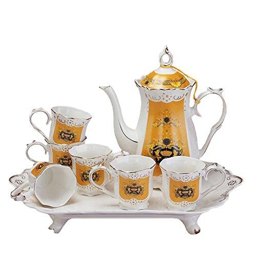 Bone China Vintage Crown Ceramic Coffee Set Tea Service Tea Set with Teapot 8-Piece White and Yellow