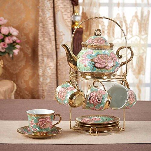 SSBY European-style coffee mug set ceramic coffee set English afternoon tea set with shelf and spoonwedding giftsSet 14