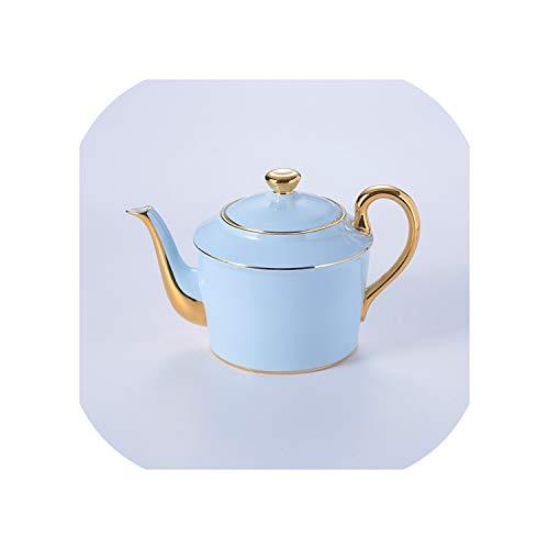 Gold Blue Bone China Coffee Set Luxury Porcelain Noble Tea Set Advanced Pot Cup Ceramic Mug Sugar Bowl Creamer Teapot DrinkwarePot 900ml