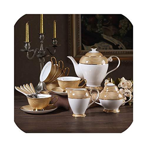 Gold China Coffee Set British Porcelain Tea Set Ceramic Pot Creamer Sugar Bowl Teatime Teapot Coffee CupFull Set