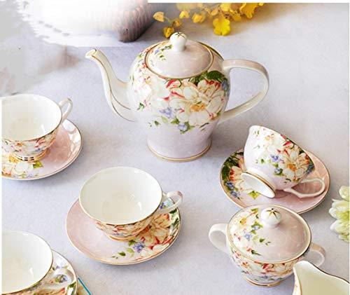 LIUFENGLONG Bone China Coffee Set European Tea Set 15 Tea Set English Afternoon Tea Ceramics Color  Pink1