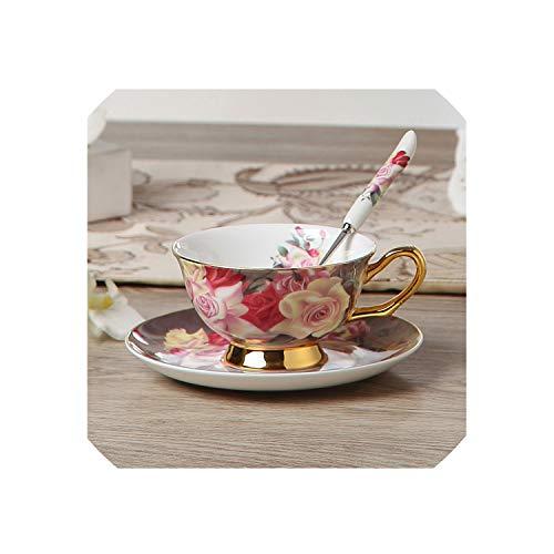 Magic day Vintage Rose Bone China Coffee Set Porcelain Tea Set Ceramic Pot Creamer Sugar Bowl Teatime Teapot Coffee Cup Mug1Coffee Cup