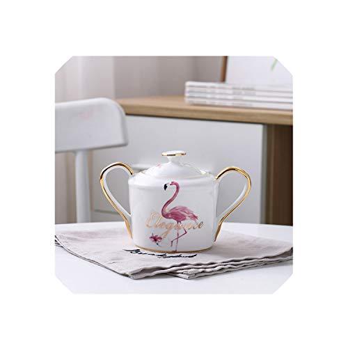 YY Cherry Flamingo Bone China Coffee Set Porcelain Tea Set Ceramic Pot Creamer Sugar Bowl Teatime Teapot Coffee Cup Tea MugFemale Sugar Bowl
