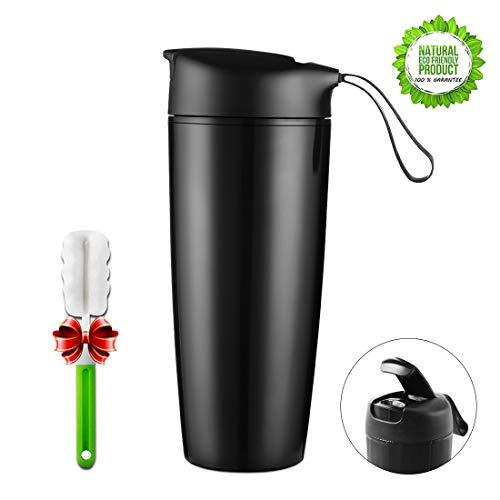 ONEISALL Travel Mug With Lid - 189 Oz BPA-Free Ceramic Lined Coffee Mug Reusable Insulated Car Tumbler Cup On-The-Go Travel Mug 560ml Black