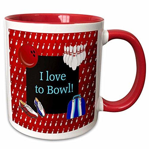 3dRose mug_180784_5 I love To Bowl Bowling Pins Ball Shoes Bag Red Blue White Two Tone Red Mug 11 oz RedWhite