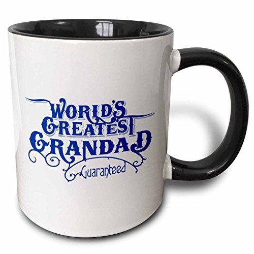 3dRose mug_219403_4 Worlds Greatest Grandad Guaranteed Design in Blue and White Two Tone Black Mug 11 oz BlackWhite