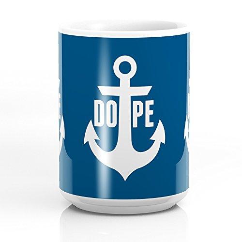 Society6 Nautical Anchor Cool Dope Navy Blue White Mug 15 oz