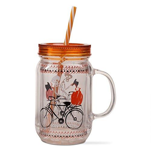 Tag Ltd Halloween Skeleton on Bike Mason Jar Look Insulated Mug with Lid Straw