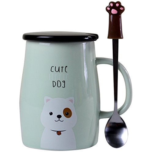 Angelice Home Cute Dog Mug Dog Coffee Mug with Creative Stainless Steel Spoon for Dog Lovers Coffee Lovers