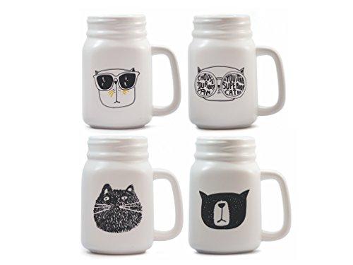 Cat Lovers Ceramic Mason Jar Mugs Set Coffee or Tea by Bifrost
