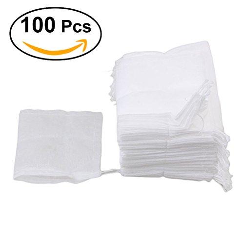 OUNONA Set of 100 Disposable Drawstring Seal Filter Empty Tea Bags6x8cm