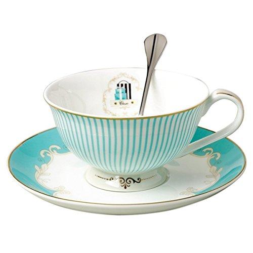 FlorisHome Vintage Blue Bone China Teacup Spoon and Saucer Set