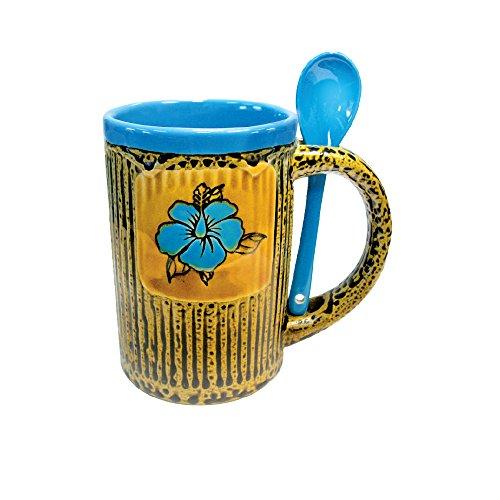 Mug Coffee and Tea Cup with Spoon Combo Set Beautiful Glazed Ceramic Flower on Leoprard Print Designer Coffee Mug 14 oz Blue 2