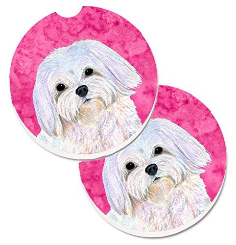 Carolines Treasures Pink Maltese Set of 2 Cup Holder Car Coasters SS4758-PKCARC 256 Multicolor