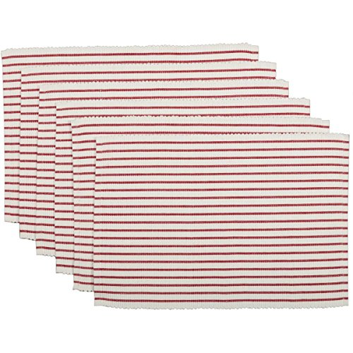 VHC Brands Audrey Ribbed Placemat Set of 6 Red