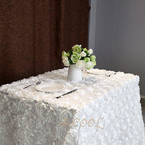 B-COOL 3d floral tablecloth Rectangular 60x102 White Tablecloth rosette fabric Rosette Florals Satin Tablecloths
