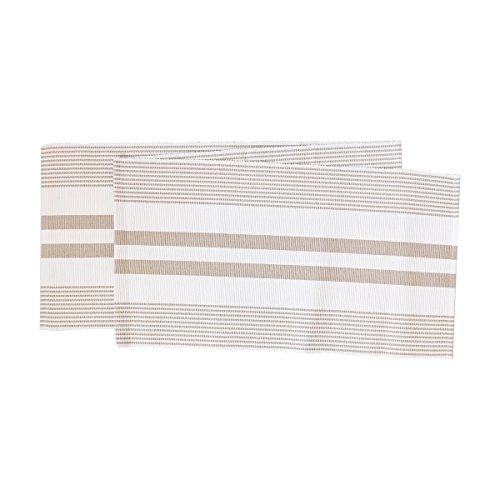 Classic Stripes Sandstone White Table Runner