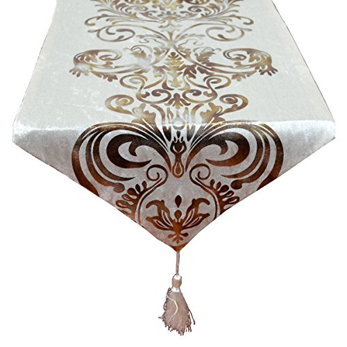 New Hot Stamping Contracted Classic Table Runner 13x70inch 1370 inch Off-white