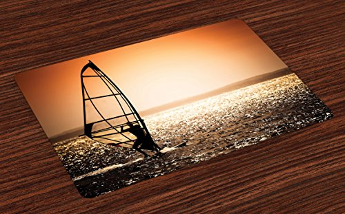 Coastal Place Mats Set of 4 by Lunarable Windsurfer Silhouette Sunset Water Sports Summertime Fun Holiday Art Washable Placemats for Dining Room Kitchen Table Decoration Dark Orange Black White