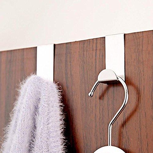 4Pcs Stainless Steel Over Door Hook Clothes Bag Towel Hanger Holder Pothook Home Kitchen Bathroom Supplies^