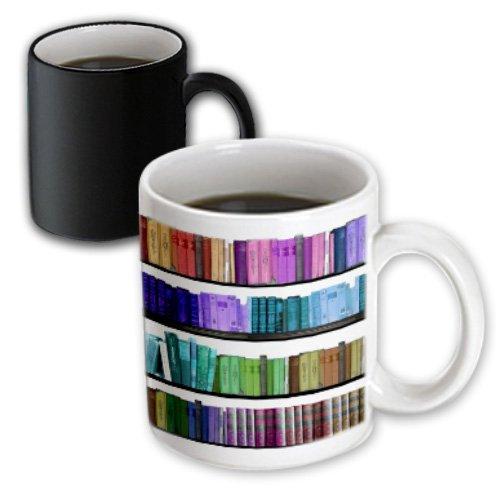 3dRose Colorful Bookshelf Rainbow Bookshelves-Reading Geek Library Magic Transforming Mug 11-Oz
