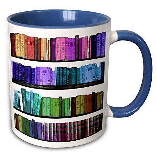 3dRose mug_112957_6 Colorful bookshelf books Rainbow bookshelves reading Book geek library Two Tone Blue Mug 11 oz BlueWhite