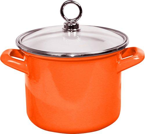 Calypso Basics by Reston Lloyd Enamel Stockpot with Glass Lid 35-Quart Orange